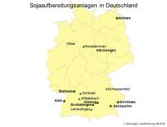 Aufbereitungsanlagen für Futtersoja in Deutschland. Quelle: Recknagel, Sojaförderring